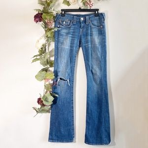 True Religion Hi-Rise Bootcut Distressed Jeans